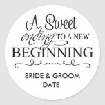 "WEDDING FAVOR STICKER A Sweet Ending<br><div class=""desc"">Sweet and stylish way to personalize your thank you favor gifts with our custom round stickers</div>"