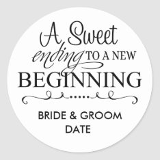 Wedding Favor Sticker A Sweet Ending at Zazzle