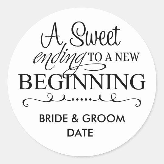 Wedding Favor Sticker A Sweet Ending Zazzle