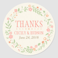 Wedding Favor Sticker | Country Florals Pink Sticker