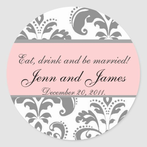 Wedding Favor Sticker Eat, Drink, and be Married