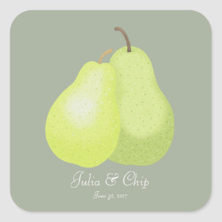 Wedding Favor Sticker Elegant Modern Pear Humor