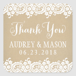 Wedding Favor Sticker | Lace and Kraft
