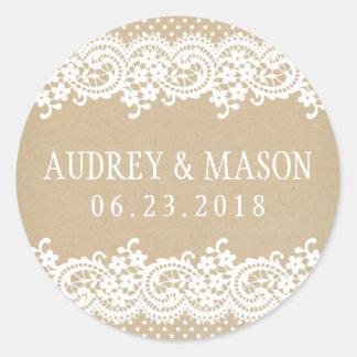 Wedding Favor Sticker   Lace and Kraft