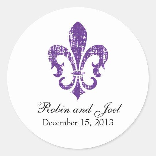 Wedding Favor Sticker New Orleans Purple Zazzle