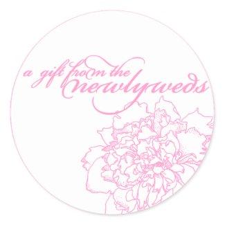 Wedding favor sticker pink peony sticker