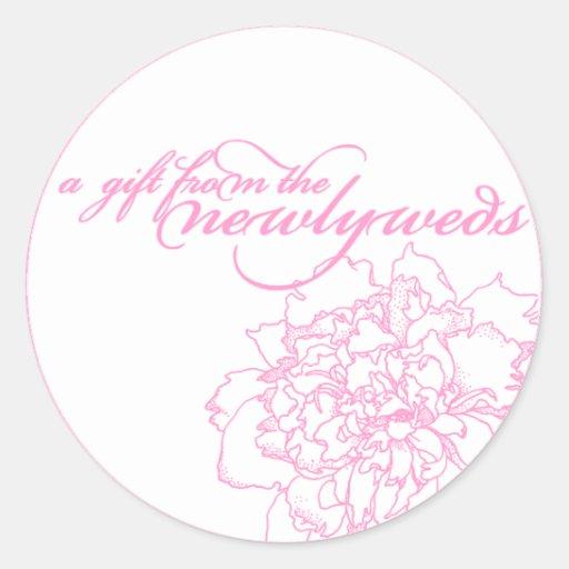 Wedding favor sticker pink peony