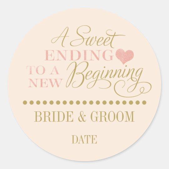 Wedding Favor Sticker Rose Gold Sweet Ending Zazzle
