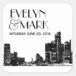 Wedding Favor Stickers | Art Deco Detroit Skyline