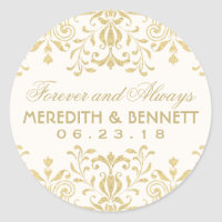 Wedding Favor Stickers | Gold Vintage Glamour