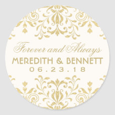 Wedding Favor Stickers | Gold Vintage Glamour