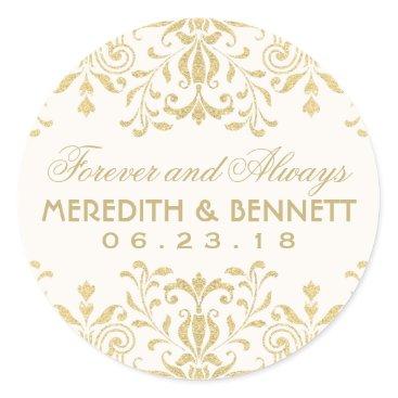 Plush_Paper Wedding Favor Stickers | Gold Vintage Glamour