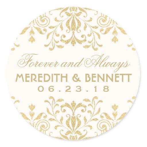 wedding favor stickers gold vintage glamour round