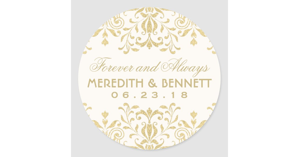 Wedding Favor Stickers Gold Vintage Glamour