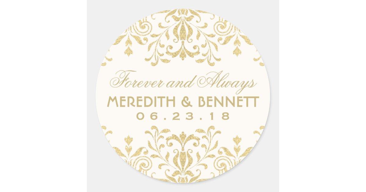 wedding favor stickers gold vintage glamour zazzle
