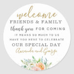 """Wedding favor stickers personalized thank you<br><div class=""""desc"""">Wedding favor stickers personalized thank you. Floral calligraphy modern and elegant.</div>"""