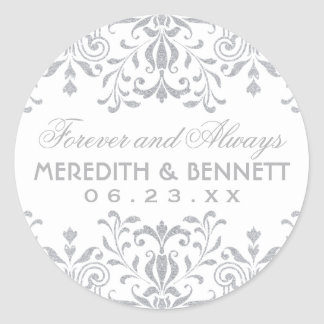 Wedding Favor Stickers | Silver Vintage Glamour