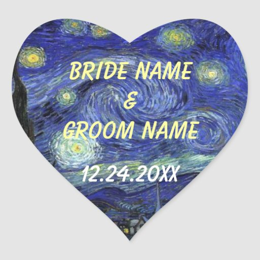 Wedding favor stickers. Starry Night Heart Sticker | Zazzle