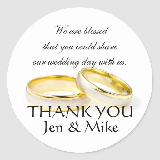 Thank You Wedding Gift Message : Wedding Favor Stickers Thank You Message Zazzle