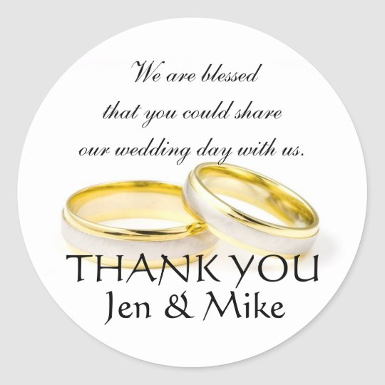 Wedding Favor Stickers Thank You Message