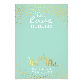 WEDDING FAVOR stylish gold spot confetti mint Card