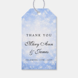 Wedding Favor Tag Blue Winter Wonderland