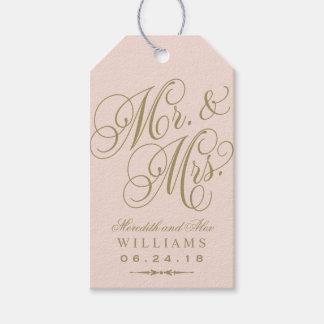 Wedding Favor Tag | Blush Gold Monogram