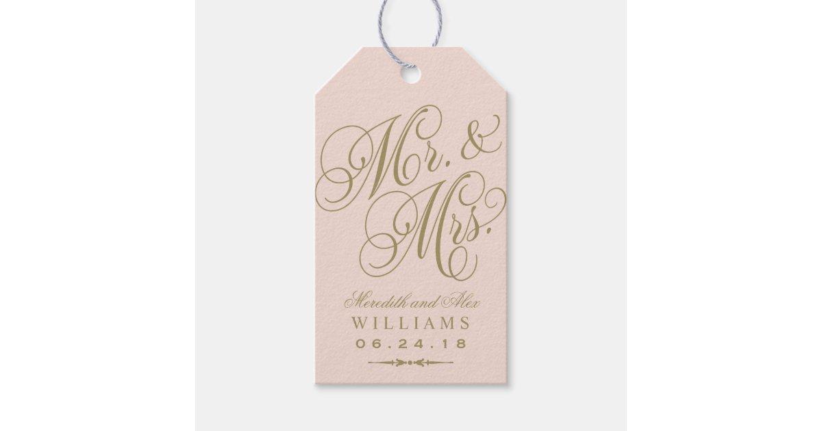 Wedding Favor Tag Blush Gold Monogram Zazzle