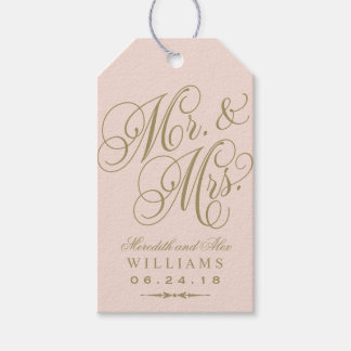Wedding Favor Tag | Blush Gold Monogram Pack Of Gift Tags