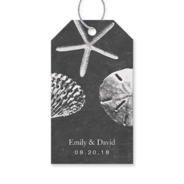 Beach Themed Wedding Favor Tag | Chalkboard Sea Shells