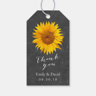 Wedding Favor Tag | Chalkboard Sunflower Pack Of Gift Tags