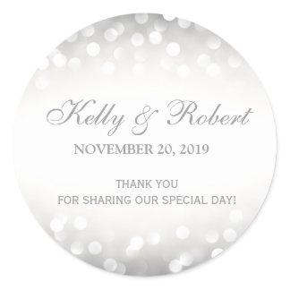 Wedding Favor Tag Elegant Silver Glitter