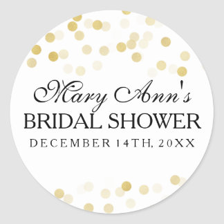 Wedding Favor Tag Faux Gold Foil Glitter Lights Classic Round Sticker