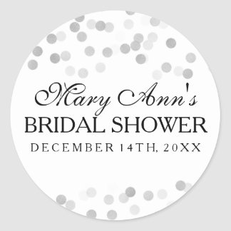 Wedding Favor Tag Faux Silver Foil Glitter Lights Classic Round Sticker