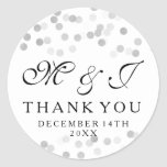Wedding Favor Tag Faux Silver Foil Glitter Lights Round Sticker
