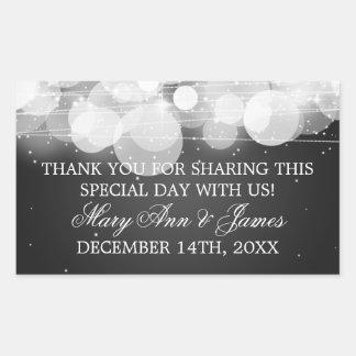 Wedding Favor Tag Glow & Sparkle Black Rectangular Sticker