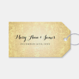 Wedding Favor Tag Gold Foil Look Stars Confetti