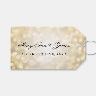 Wedding Favor Tag Gold Glitter Lights Pack Of Gift Tags