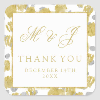 Wedding Favor Tag Gold & Silver Paint Strokes