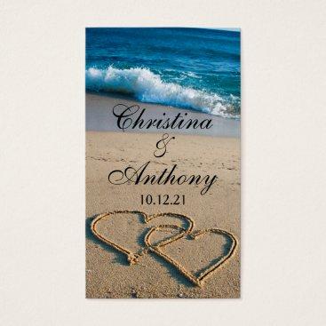Beach Themed Wedding Favor Tag Heart on the Shore Beach