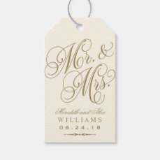 Wedding Favor Tag | Ivory Gold Monogram