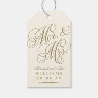Wedding Favor Tag   Ivory Gold Monogram Pack Of Gift Tags