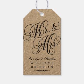 Wedding Favor Tag   Kraft Elegant Monogram Pack Of Gift Tags