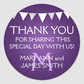 Wedding Favor Tag Love Bunting Monogram Purple Sticker