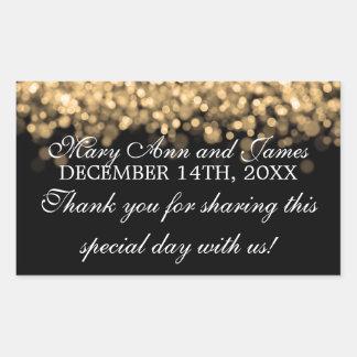 Wedding Favor Tag Magic Gold Lights Rectangular Sticker