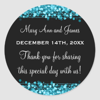 Wedding Favor Tag Party Sparkles Turquoise Classic Round Sticker