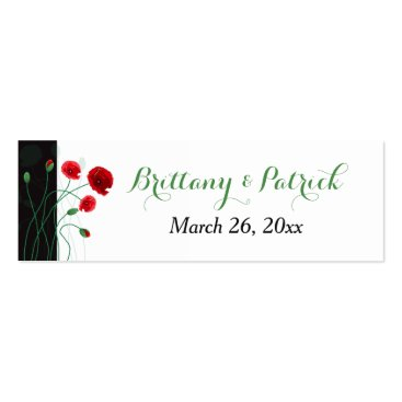Wedding Favor Tag | Red Poppies | Black, Green Business Card Templates