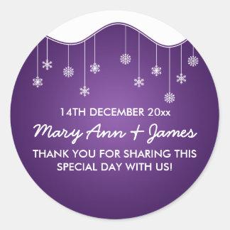 Wedding Favor Tag Snowflake Decoration Purple Sticker