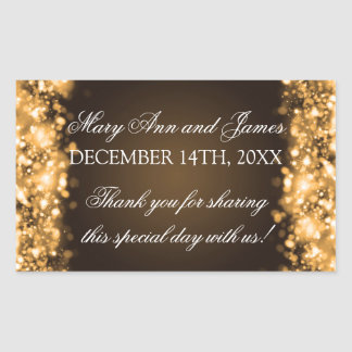 Wedding Favor Tag Sparkling Lights Gold Rectangular Sticker