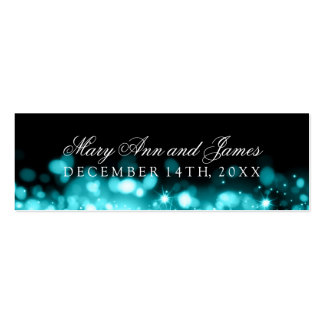 Wedding Favor Tag Sparkling Lights Turquoise Double-Sided Mini Business Cards (Pack Of 20)